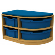 Arc Single Corner Storage And Seating Unit With 4 Trays