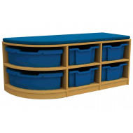 Arc Double Corner Storage And Seating Unit With 6 Trays