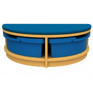 Arc Half Moon Tray Storage And Seating Unit With Trays