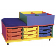 Mobile Seat And Tray Storage Unit With Kinderbox