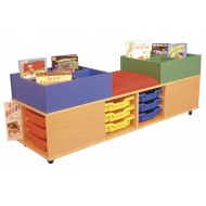 Mobile Seat And Tray Storage Unit With Twin Kinderboxes