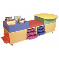 Mobile Seat And Tray Storage Unit With Kinderbox And Table
