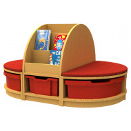 Arc book storage and seating island with 6 trays