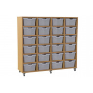 Salas 4 column storage unit with 24 cubby trays