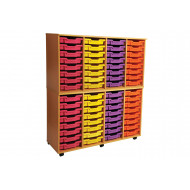 Primary 4 Column Mobile Tray Storage Unit With 64 Shallow Trays