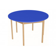 Natural wooden circular classroom table