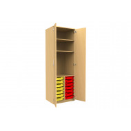 Tall Tray Storage 2 Shelf Cupboard With Full Doors