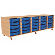 Primary 5 Column Mobile Tray Storage Unit With 25 Shallow Trays