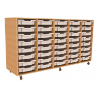 Primary 5 Column Mobile Tray Storage Unit With 40 Shallow Trays