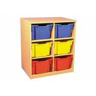 Double bay static storage unit with 6 extra deep trays
