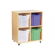 Double Bay Mobile Storage Unit With 4 Jumbo Trays