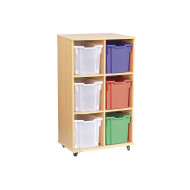 Double Bay Mobile Storage Unit With 6 Jumbo Trays
