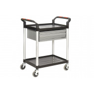 Proplaz 2 Shelf Trolley With 2 Drawers (100kg Capacity)