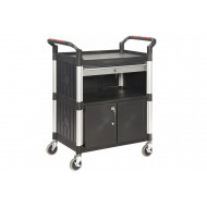 Proplaz 3 Shelf Trolley With 1 Drawer And Cupboard (150kg Capacity)