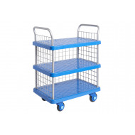 Proplaz Super Silent Three Tier Trolley With Mesh Ends & Side (300kg Capacity)
