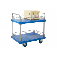 Proplaz Blue Two Tier Trolley With Wire Surround (300kg Capacity)