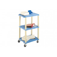 Tall Plastic 3 Shelf Trolley With Coloured Shelves (90kg Capacity)