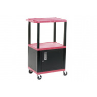 Service Trolley With Cupboard And Coloured Shelves (90kg Capacity)