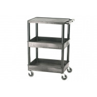 Plastic 3 Tier Multi Purpose Trolley With Flat Top And 2 Storage Trays (150kg Capacity)