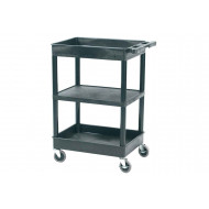 Plastic 3 Tier Multi Purpose Trolley With Flat Middle Shelf And 2 Storage Trays (150kg Capacity)