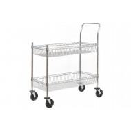 Chrome Plated Wire Tray Trolley With Removable Shelf (120kg Capacity)