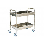 Stainless Steel Trolley With 2 Deep Shelves (100kg Capacity)