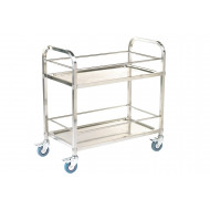 Stainless Steel Shelf Trolley With 2 Shelves And Rod Surround (100kg Capacity)