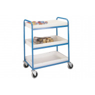 Tubular Steel Tray Trolley With Plastic Trays (125kg Capacity)