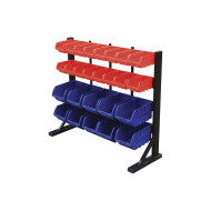 Bin Rack With 10 Blue And 16 Red Bins