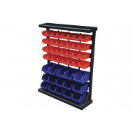 Bin Rack With 15 Blue And 32 Red Bins