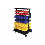 Bin Trolley With 16 Yellow, 20 Blue And 24 Red Bins