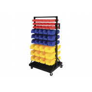 Bin Trolley With 24 Yellow, 30 Blue And 36 Red Bins