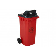 Wheeled bin with push flap lid