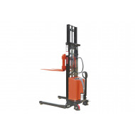 Semi electric stacker with adjustable forks