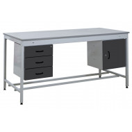 Taurus Utility Workbench With 3 Drawer Pedestal And Single Cupboard