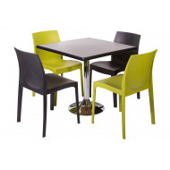Next-Day Clearlake 5 Piece Square Dining Set (Black Top)