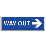 Way out arrow right external information sign