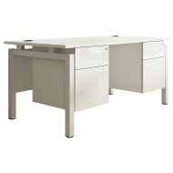 Indigo Bench Leg Double Pedestal Desk (Frost White)