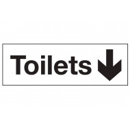 Toilets with arrow down washroom sign