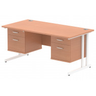 Vitali C-Leg Rectangular Desk 2+2 Drawers (White Legs)