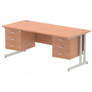Vitali C-Leg Rectangular Desk 3+3 Drawers (Silver Legs)