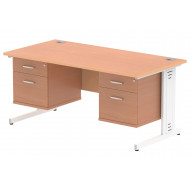 Vitali Deluxe Rectangular Desk 2+2 Drawers (White Legs)