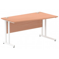 Next-Day Vitali C-Leg Right Hand Narrow Wave Desk (White Legs)