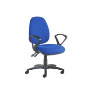 Gilmour High Back Fabric Operator Chair Fixed Arms (Blue)