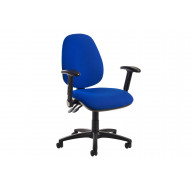 Gilmour High Back Fabric Operator Chair Folding Arms (Blue)