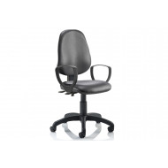 Lunar 2 Lever Vinyl Operator Chair (Fixed Arms)