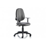 Lunar 2 Lever Vinyl Operator Chair (Adjustable Arms)