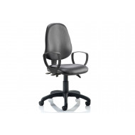 Lunar 3 Lever Black Vinyl Operator Chair (Fixed Arms)