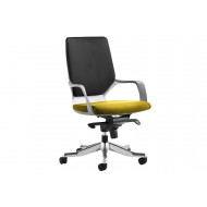 Russo Medium Back Two Tone Fabric Executive Chair (White Shell)