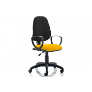 Lunar 1 Lever Two Tone Fabric Operator Chair (Fixed Arms)